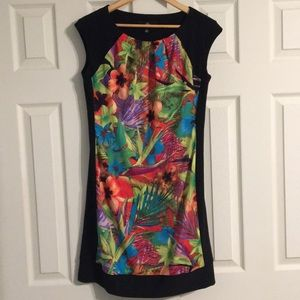 Tropical print dress - bright colors with black